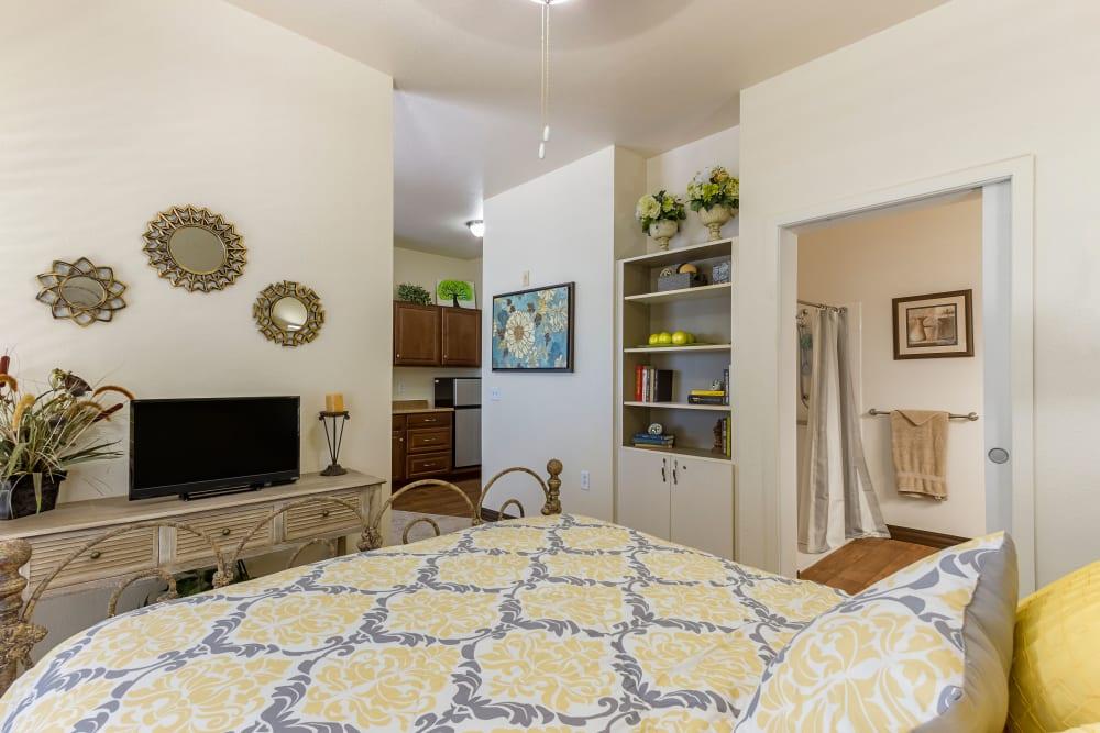A resident bedroom at Desert Flower in Scottsdale, Arizona.