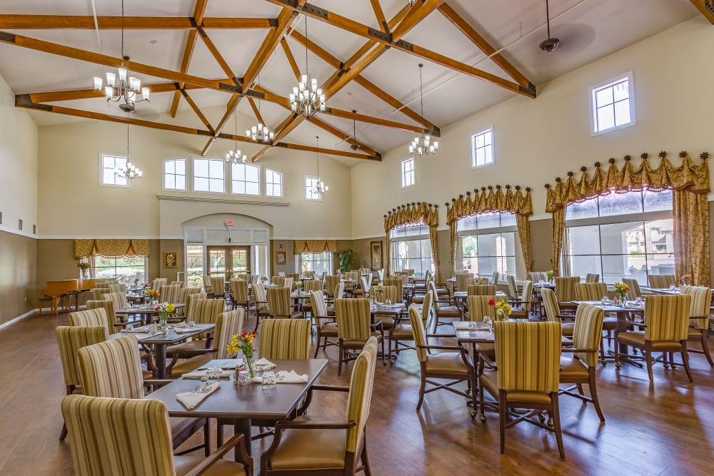 Spacious dining room at Desert Flower in Scottsdale, Arizona.