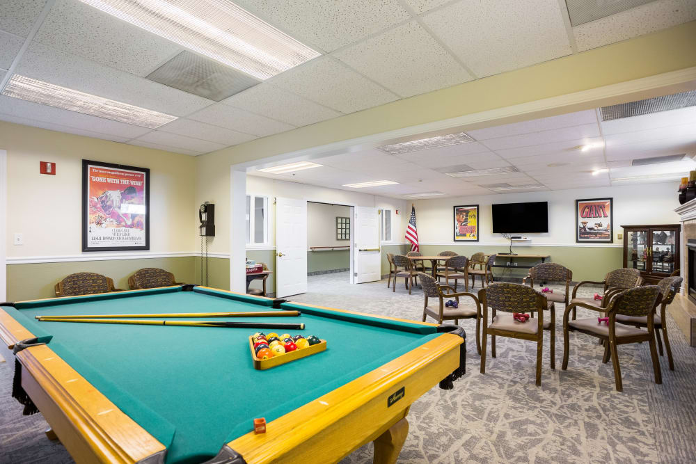 Resident game room at Willow Park in Boise, Idaho.