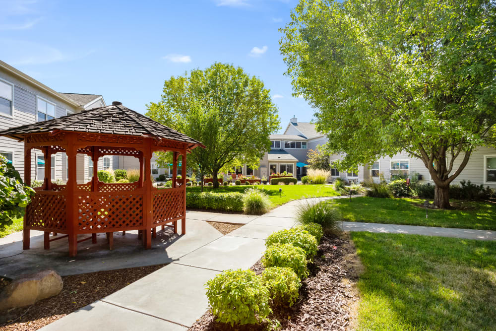 Beautiful courtyard at Willow Park in Boise, Idaho.