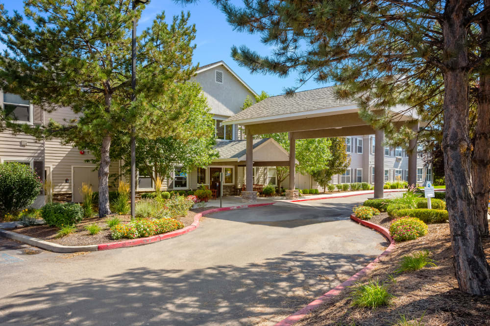 Exterior view of main entrance at Truewood by Merrill, Boise in Boise, Idaho
