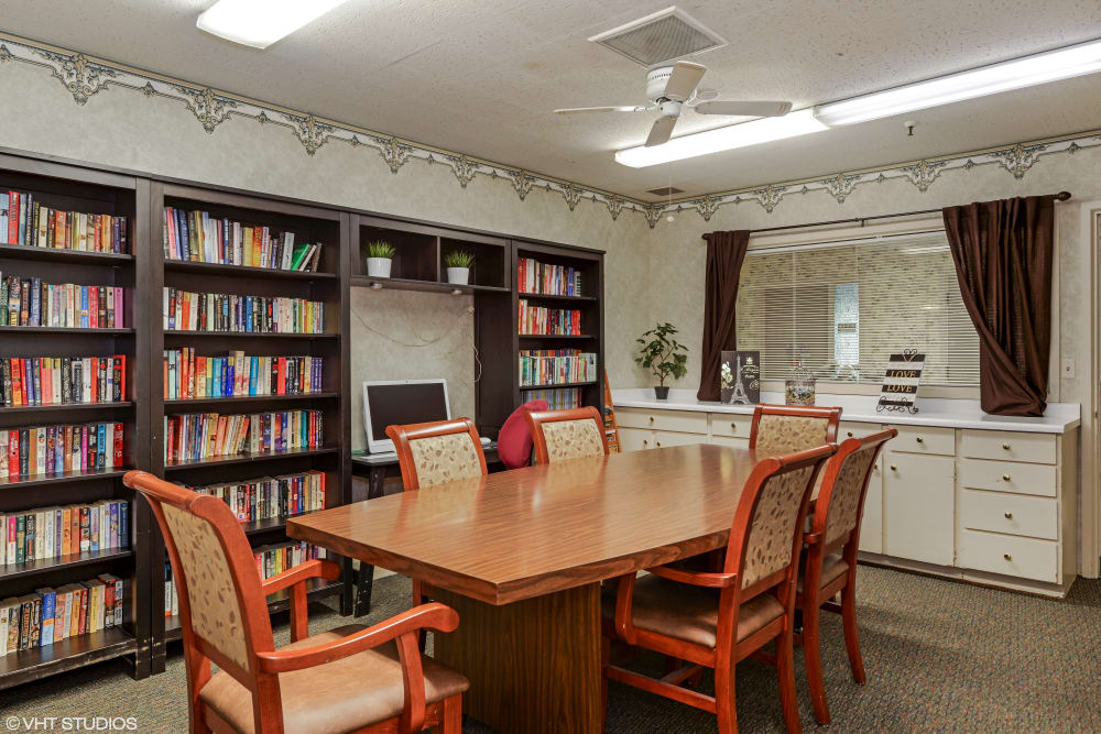 The resident library at Golden Living in Taylorsville, Utah.