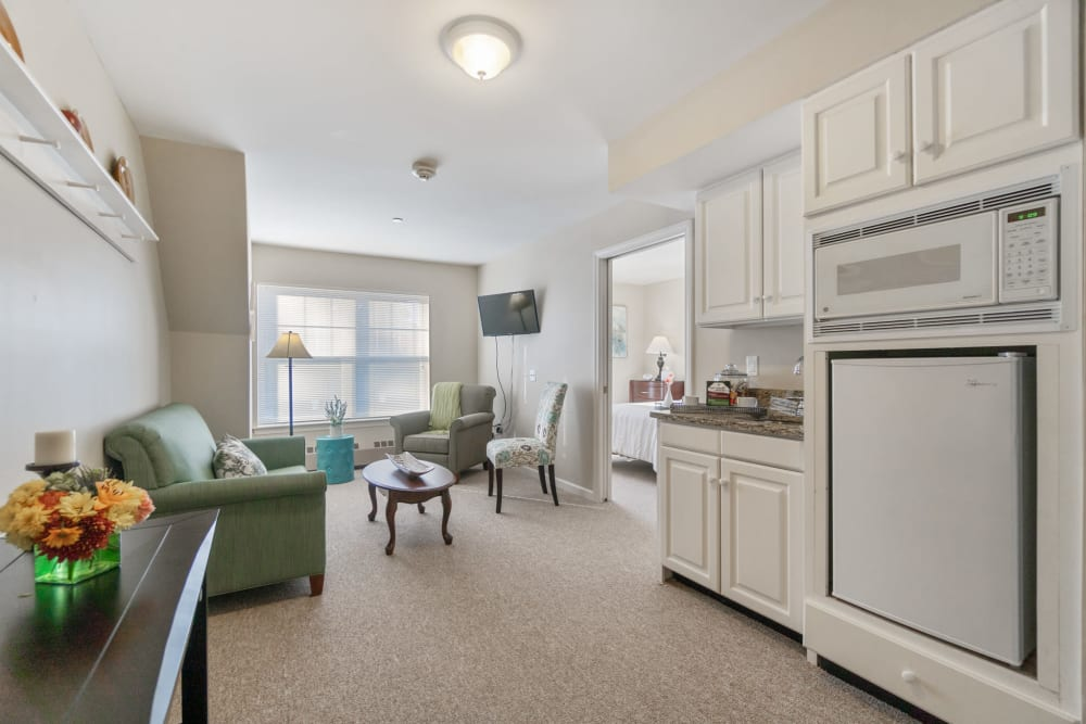 1 Bedroom senior apartment with a kitchenette at The Hearth at Gardenside in Branford, Connecticut