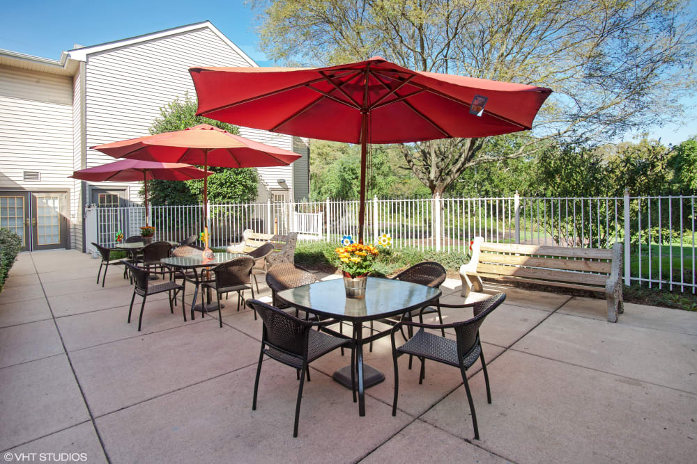 Patio seating at Glen Riddle in Glen Riddle, Pennsylvania.