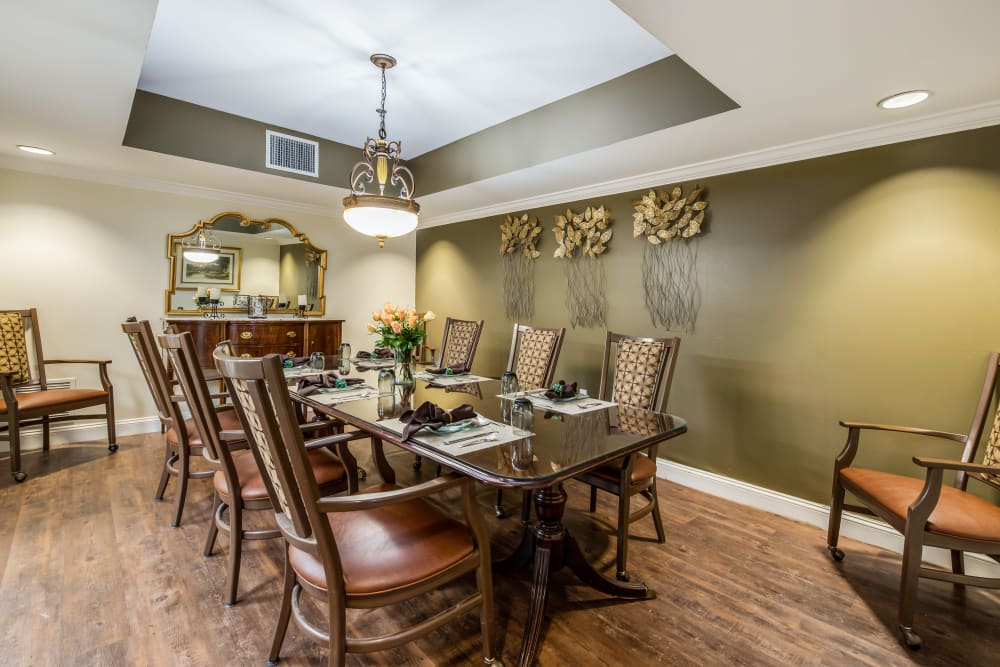 Private dining room at Glen Riddle in Glen Riddle, Pennsylvania.