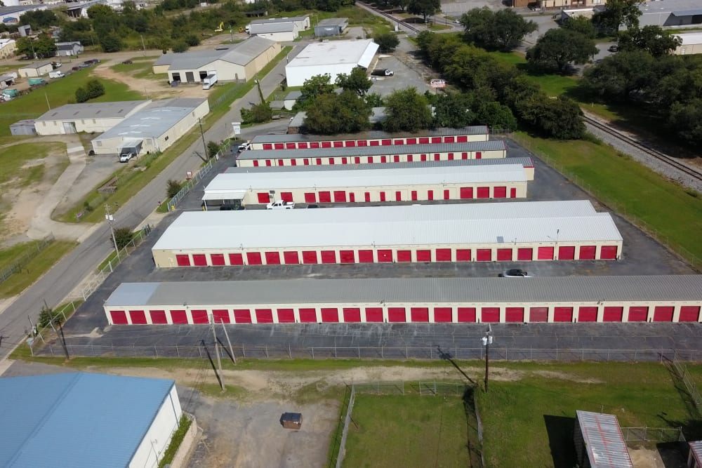 Rows of storage units with red doors at StayLock Storage in Albany, Georgia