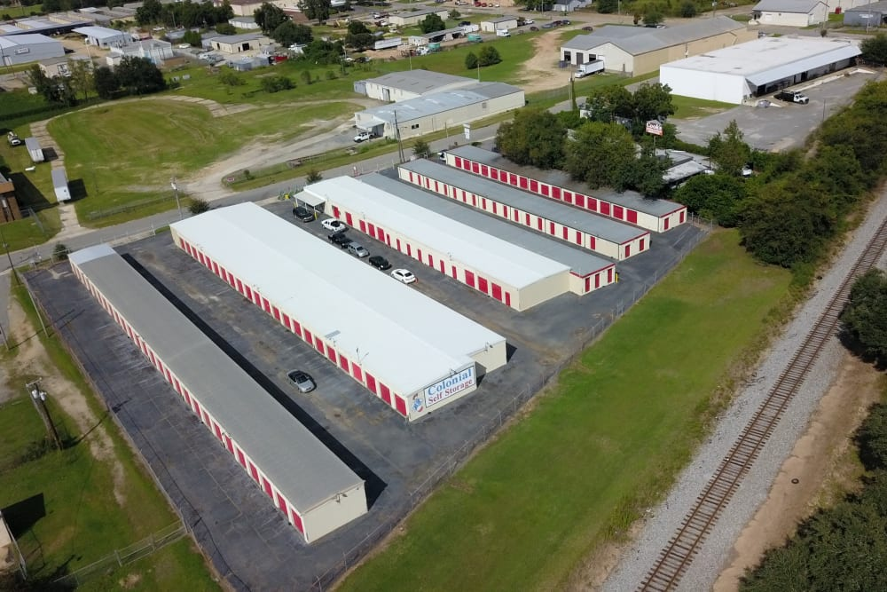 A view from the sky of StayLock Storage in Albany, Georgia
