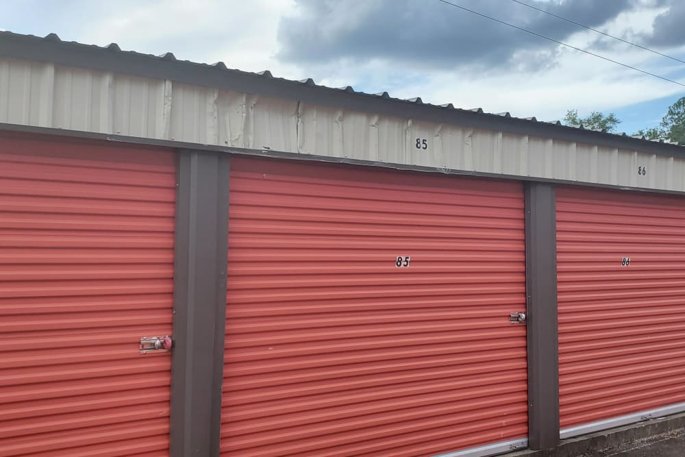 Units with red doors at StayLock Storage in Leesburg, Georgia
