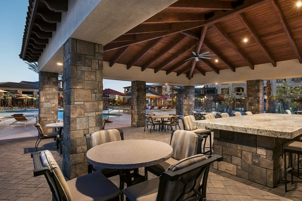 Outdoor Cabanas with Poolside Kitchens at San Artes in Scottsdale, Arizona