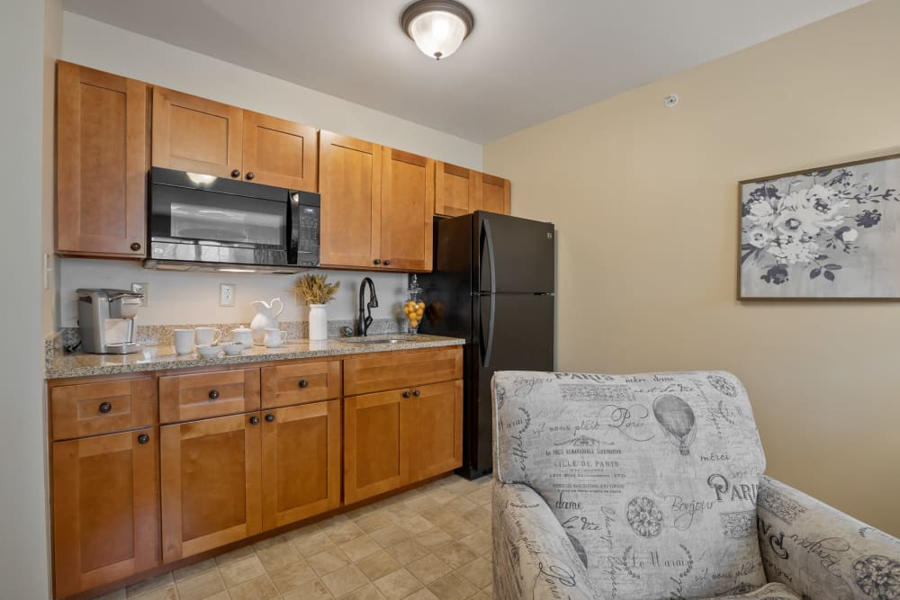 Kitchenette in a studio apartment at The Hearth at Hendersonville in Hendersonville, Tennessee