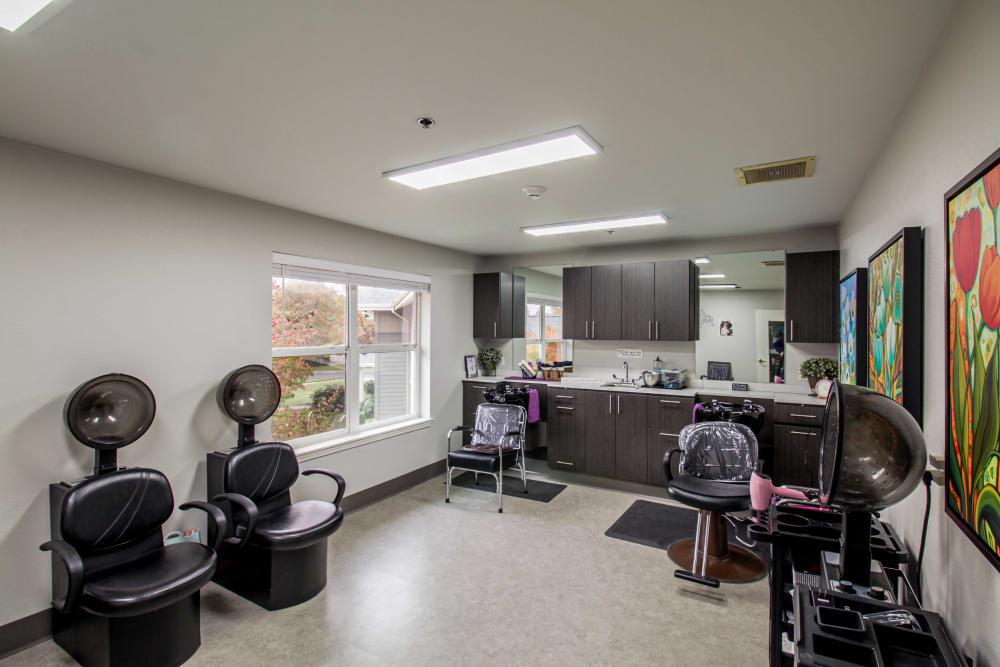 Barber shop at Evergreen Senior Living in Eugene, Oregon