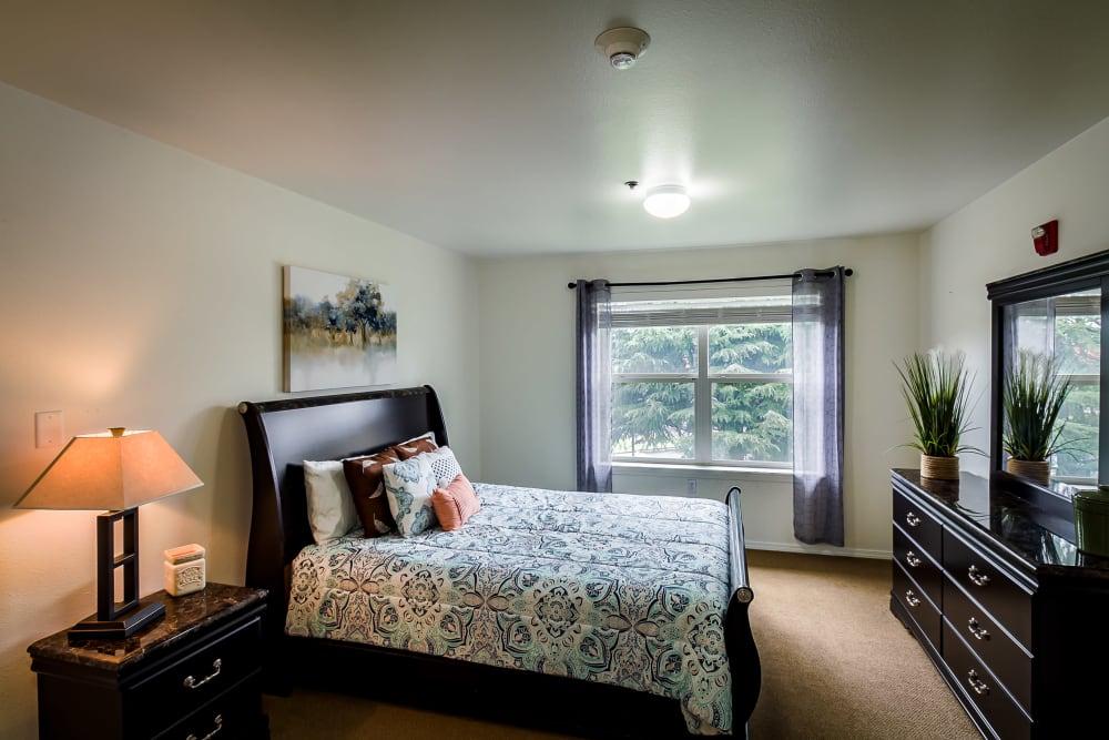 Spacious bedroom at Evergreen Senior Living in Eugene, Oregon