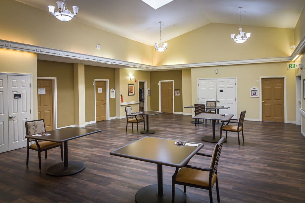 Community room great for fun events at Evergreen Memory Care in Eugene, Oregon