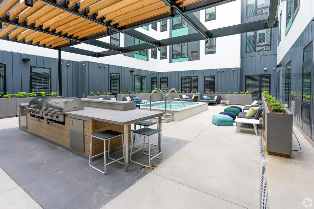 Swimming pool and poolside lounge at UNCOMMON Dinkytown in Minneapolis, Minnesota