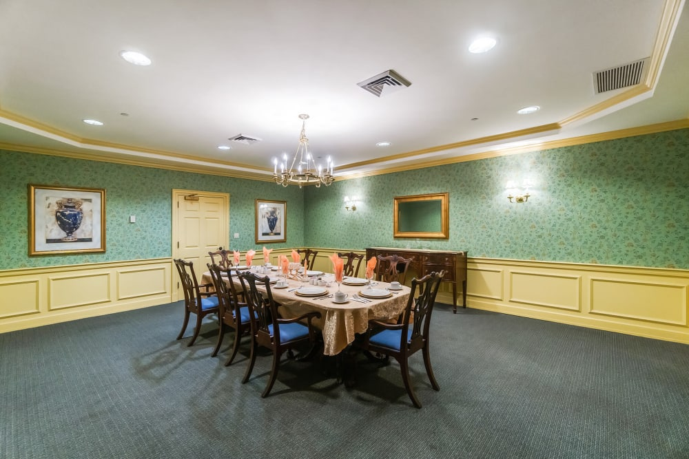 Private family dining room at The Hearth at Southbury in Southbury, Connecticut