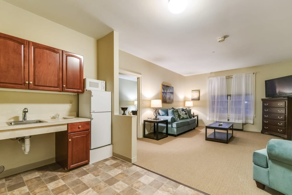 1 Bedroom apartment with an connected living space at The Hearth at Southbury in Southbury, Connecticut