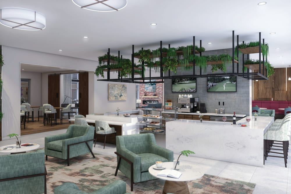 Bistro with bar and lounge at Anthology of Charlottesville - Opening Fall 2021 in Charlottesville, Virginia