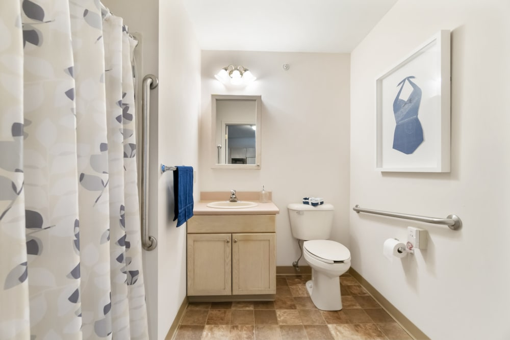 Apartment bathroom with a walk-in shower and hand-rails at The Hearth at Tuxis Pond in Madison, Connecticut