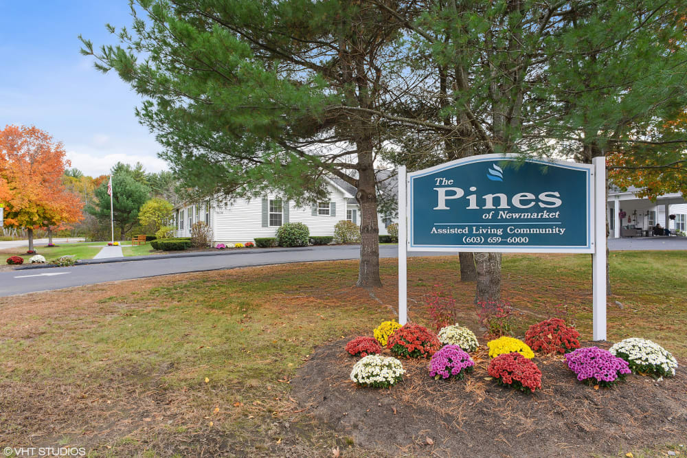 Entry sign at Pines of Newmarket in Newmarket, New Hampshire.