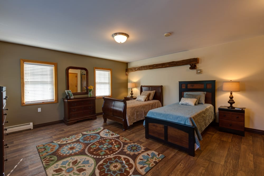 Spacious bedroom at Pine Rock Manor in Warner, New Hampshire.