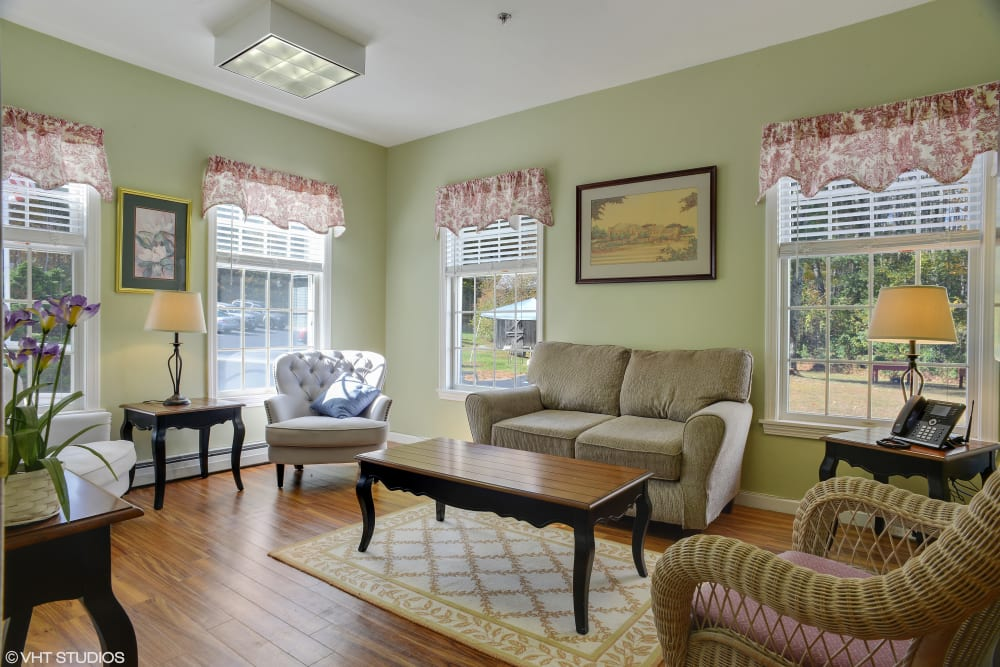 Cozy living room at Kirkwood Corners in Lee, New Hampshire