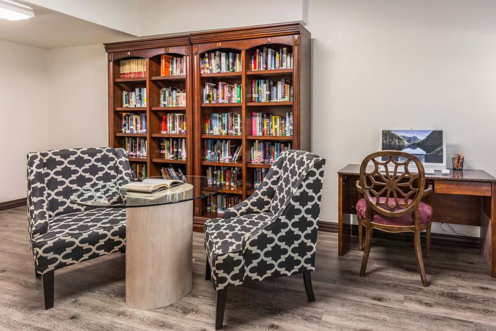 Reading area at Chateau Brickyard in Salt Lake City, Utah.
