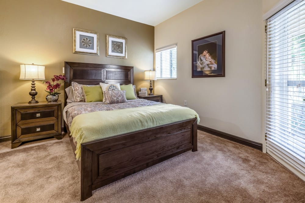 Spacious resident bedroom at Chateau Brickyard in Salt Lake City, Utah.