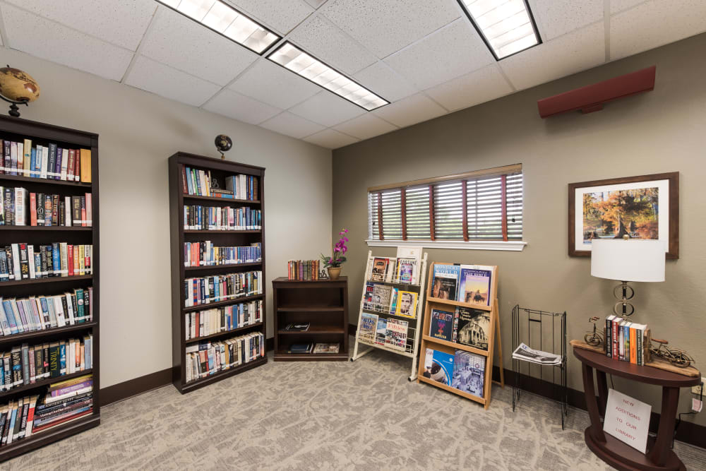 Resident reading room at Waterview Court in Shreveport, Louisiana.