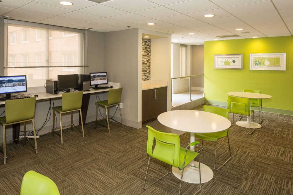 Business center at Solace on Peachtree in Atlanta, Georgia