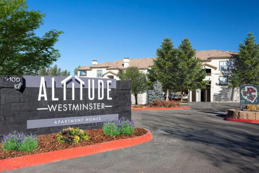 The front sign at Altitude Westminster in Westminster, Colorado