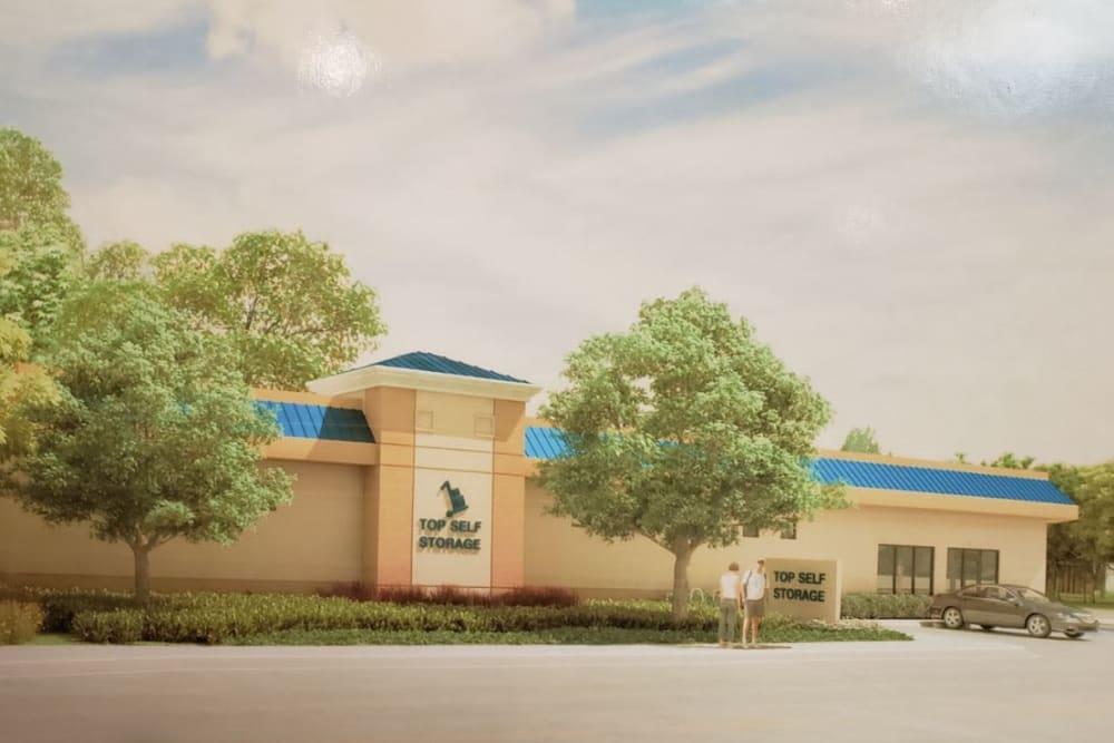 Rendering of the building exterior and signage at Top Self Storage in West Palm Beach, Florida