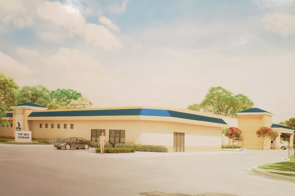 Rendering of the exterior facade at Top Self Storage in West Palm Beach, Florida