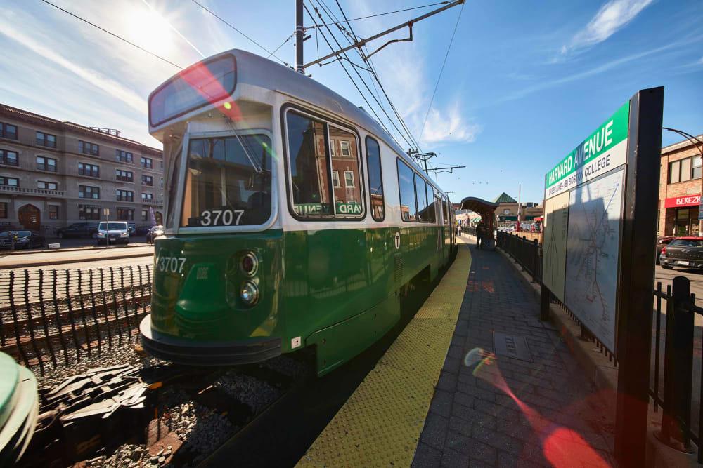 Train on Harvard avenue in Allston, Massachusetts near Arthaus Apartments