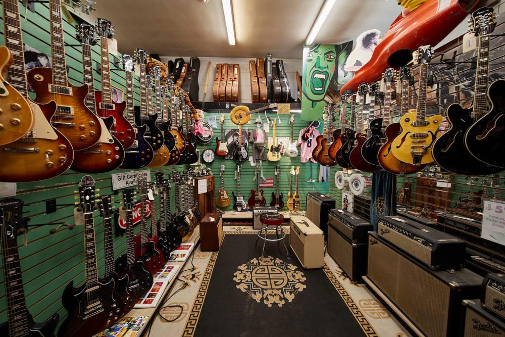 Mr Music guitar shop in Allston, Massachusetts near Arthaus Apartments