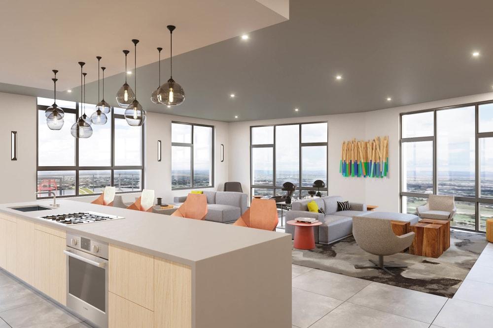 Large open concept floor plans at Arthaus Apartments in Allston, Massachusetts