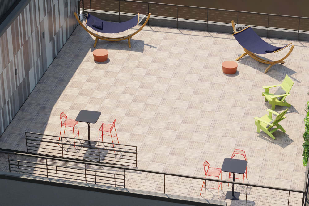 Large rooftop deck at Arthaus Apartments in Allston, Massachusetts