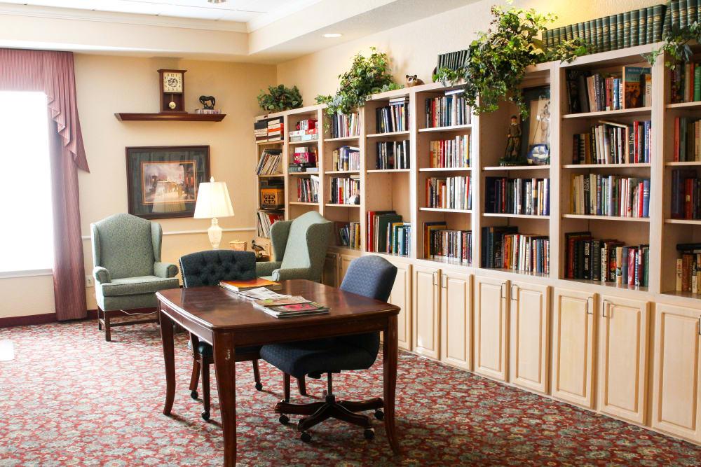 Resident libary at Lionwood in Oklahoma City, Oklahoma.