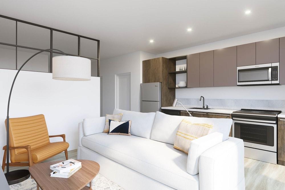 Beautiful living room at Arthaus Apartments in Allston, Massachusetts