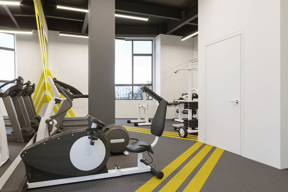 Stationary fitness bike at Arthaus Apartments in Allston, Massachusetts