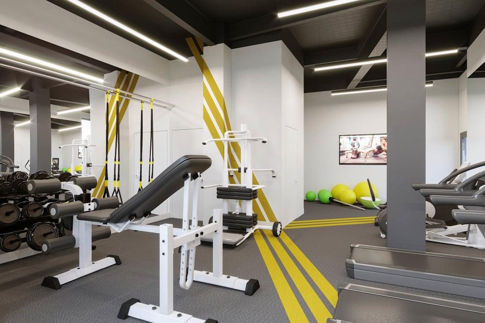 Gym area at Arthaus Apartments in Allston, Massachusetts
