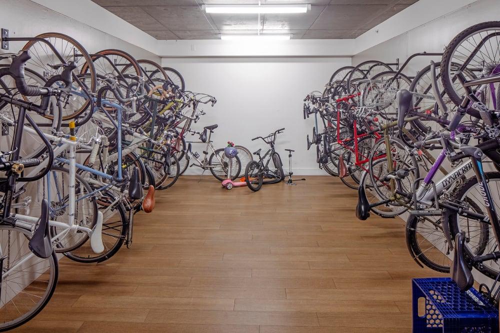 Indoor bike storage at Overlook Park in Portland, Oregon
