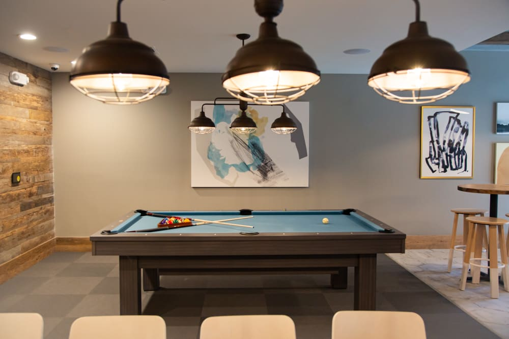 Game room with a billiards table at 511 Meeting in Charleston, South Carolina