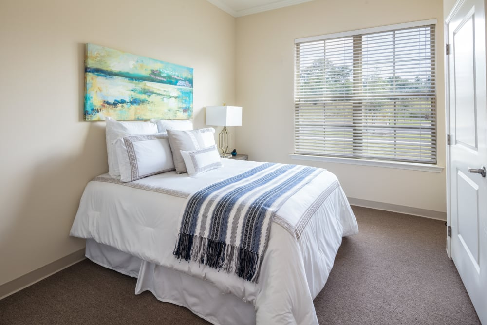 Model bedroom at The Blake at The Grove in Baton Rouge, Louisiana