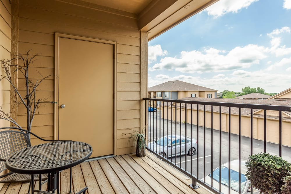 A spacious private patio at Alvadora Apartments in Lawrence, Kansas
