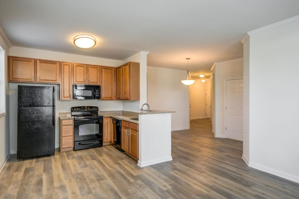 Floor plan with an east kitchen layout at Manassas Station Apartments in Manassas, Virginia