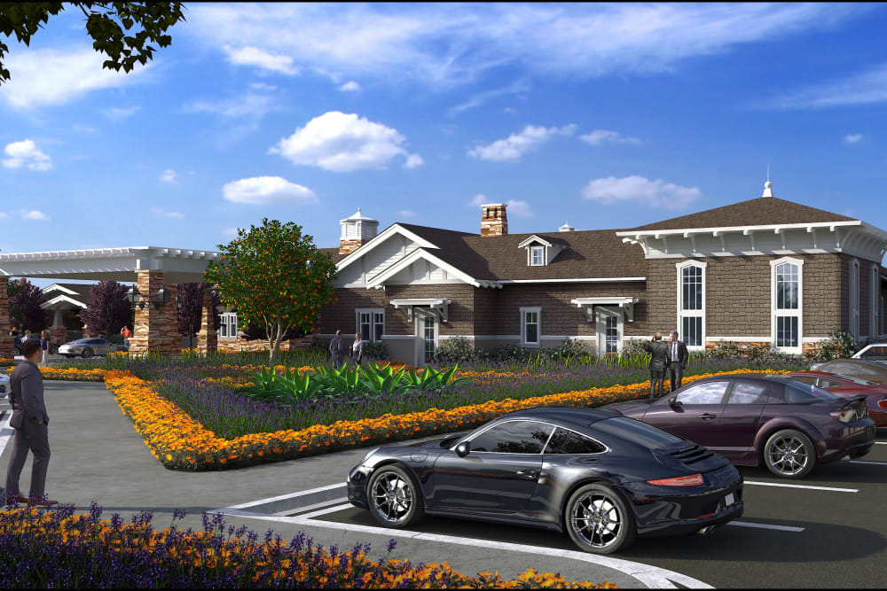A rendering of the exterior view of Clearwater at North Tustin in Santa Ana, California