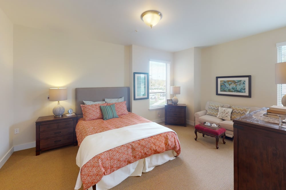 A decorated bedroom at Harmony at Oakbrooke in Chesapeake, Virginia