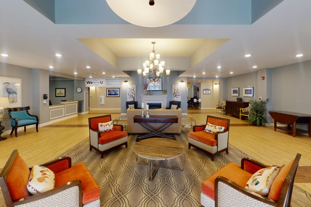 Lobby and entrance at Harmony at Harbour View in Suffolk, Virginia