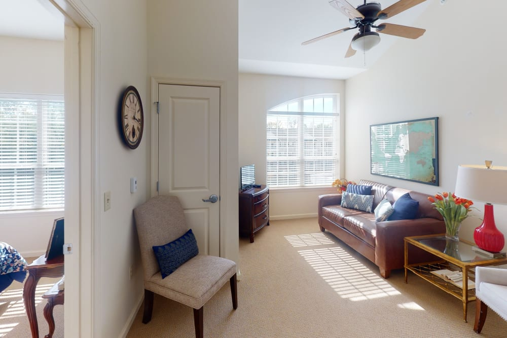 Spacious living room at Harmony at Harbour View in Suffolk, Virginia