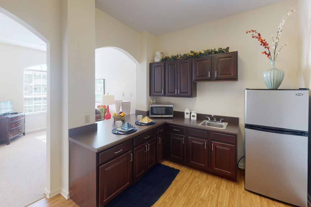 Spacious kitchenette at Harmony at Harbour View in Suffolk, Virginia